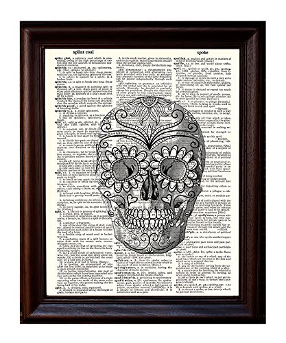 Dictionary Art Print - Day of the Dead Skull 2 - 8x10.5 - Mixed Media Poster Printed on Vintage Dictionary Page