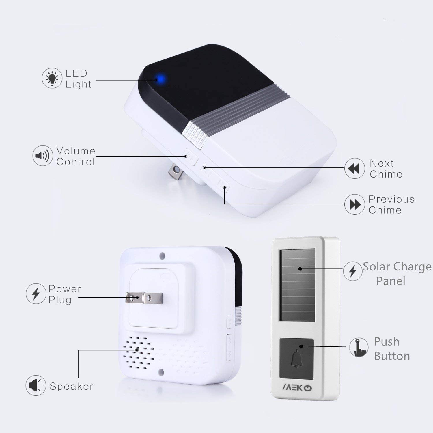 Details about  /Doorbell Wireless Solar Home Waterproof 300M Chime Outdoor Charging Light Power