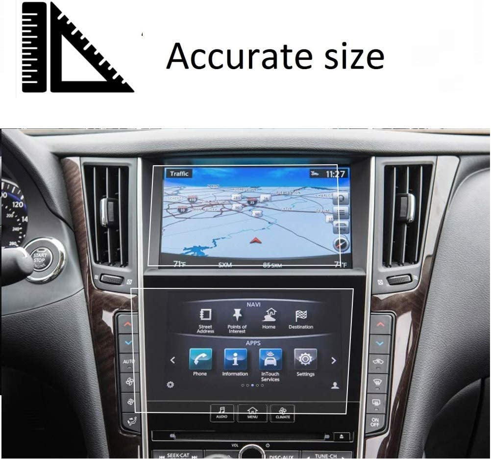 Screen Protector Compatible with Infiniti Q50 Q60 Touch Screen,Flyingchan,Anti Glare Scratch,Shock-Resistant Navigation Accessories,2PCS//Set