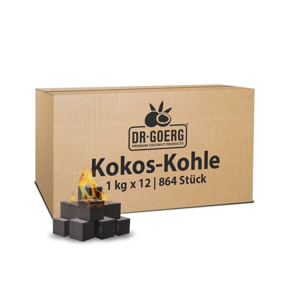 Kokos-Kohle Bio 12x1kg Premium-Qualität ohne Zusatzstoffe Sparpaket