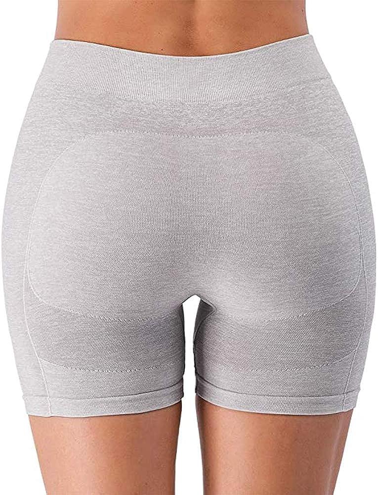 Leoyee Pantaloncini da allenamento da donna a vita alta da yoga pantaloncini fitness elasticizzati pantaloni sportivi di controllo pancia 2 tasche