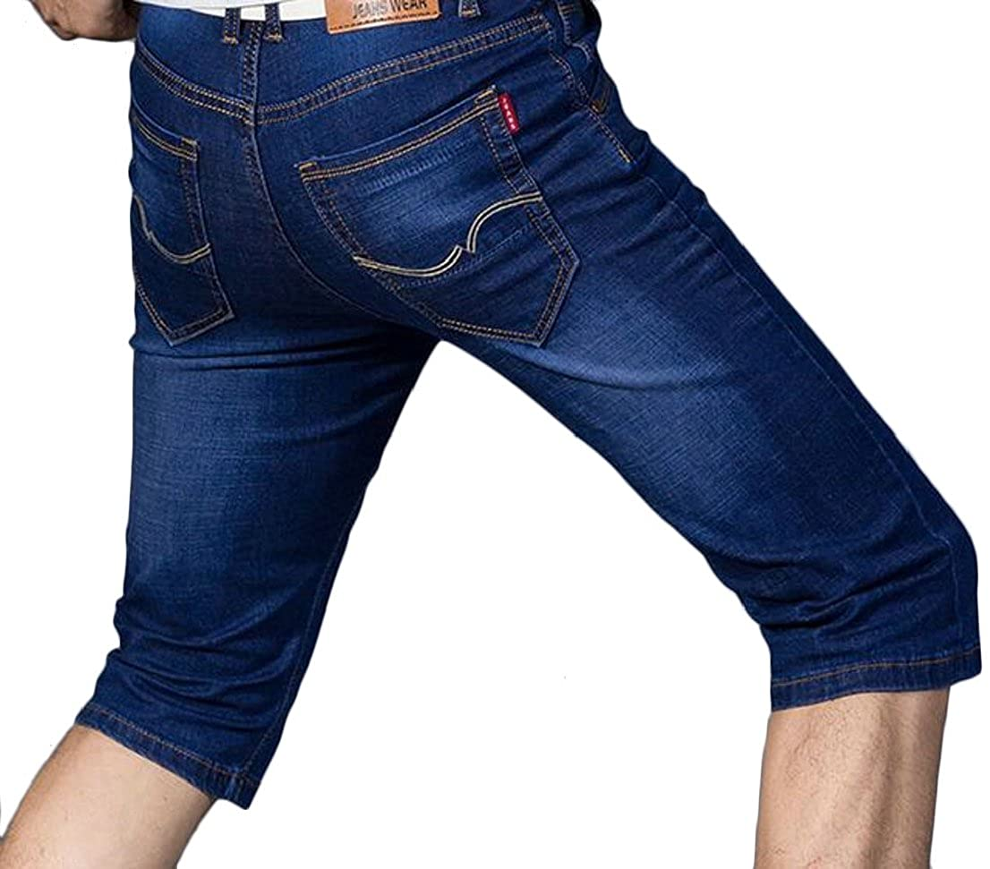 Generic Mens Lightweight Relaxed Fit Stretch Denim Jean Shorts
