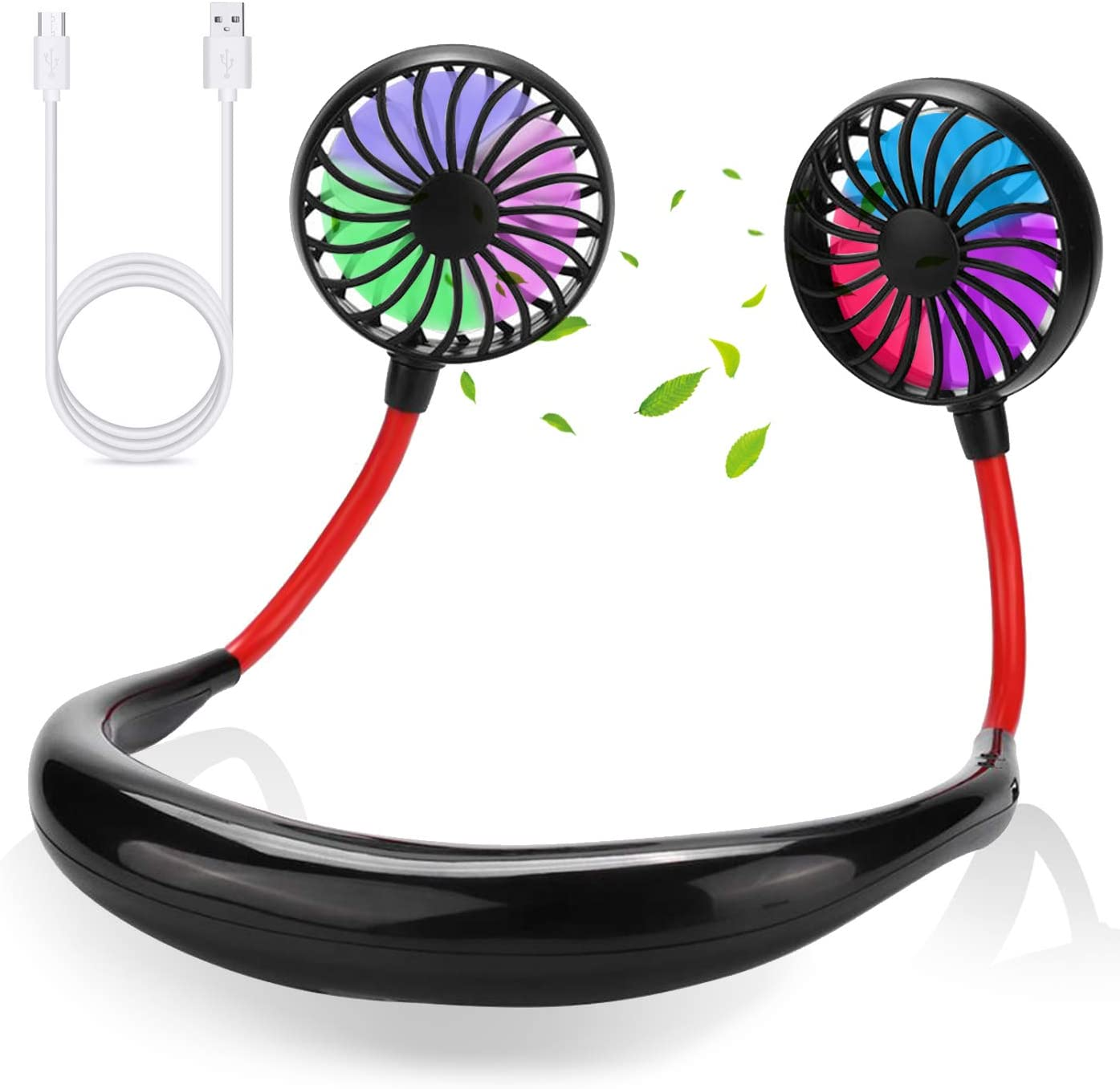 FIGROL Sports Hand Free Fan,Rechargeable Mini USB Fan with 2000mAh Battery,Headphone,Wearable,Neckband,Portable Fan with 360 Degree Adjustment Dual Wind Head for Running,Travel,Camping,Office