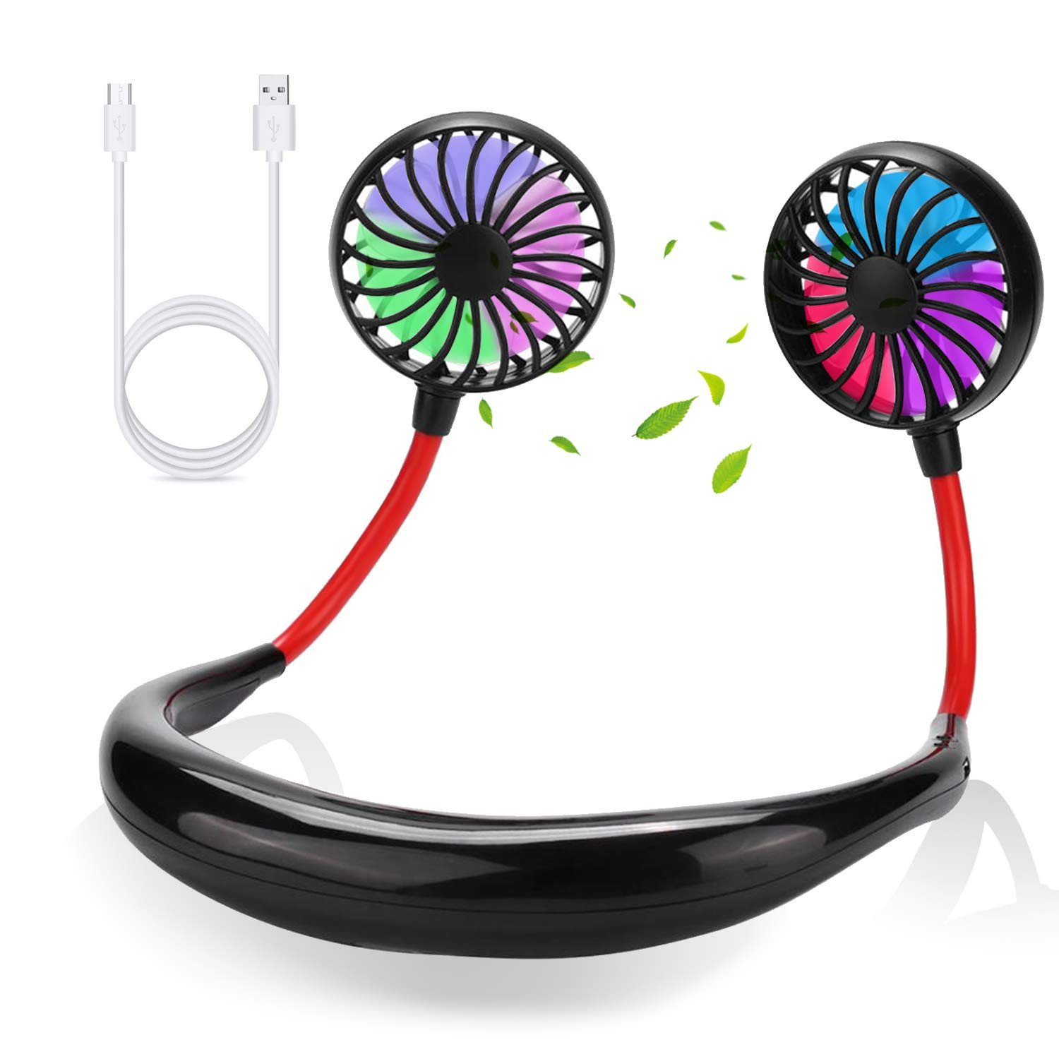 FIGROL Sports Hand Free Fan,Rechargeable Mini USB Fan with 2000mAh Battery,Headphone,Wearable,Neckband,Portable Fan with 360 Degree Adjustment Dual Wind Head for Running,Travel,Camping,Office by FIGROL