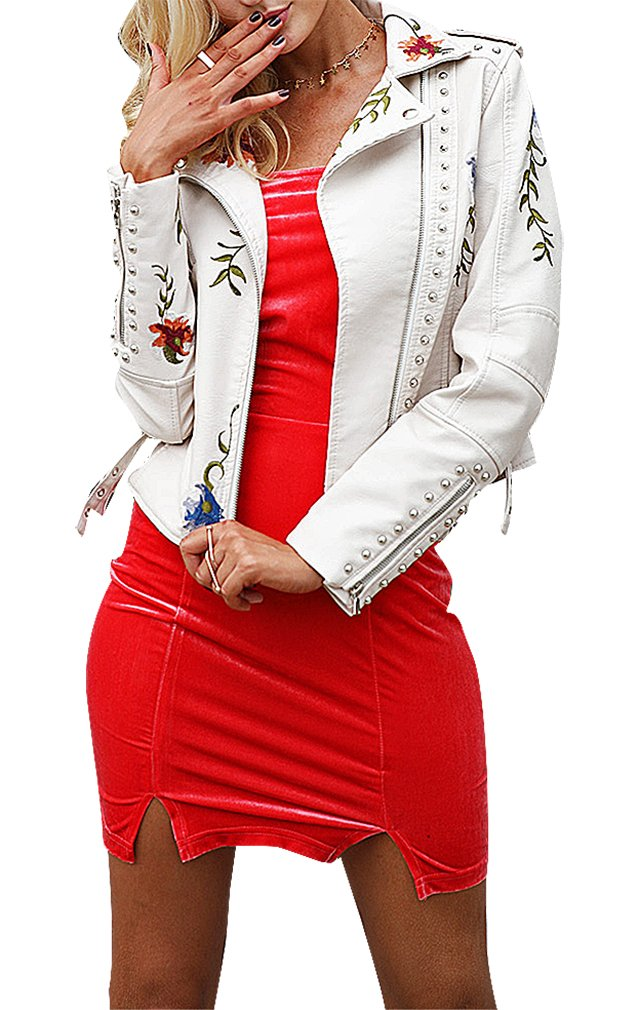 BLady Women's PU Leather Embroidered Flowers Side Zip Turndown Collar Jacket, White XS,Manufacturer(M) by BLady