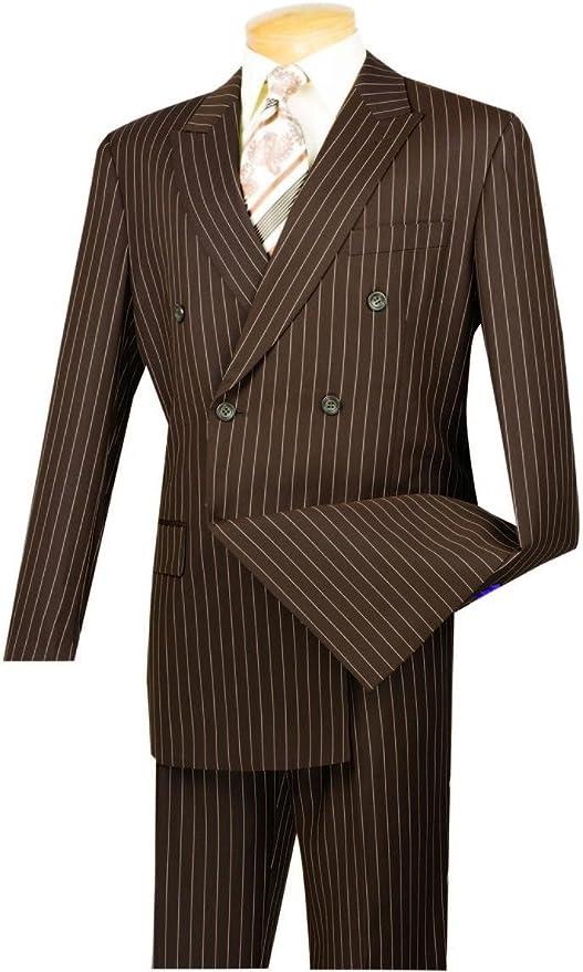 VINCI Men's Wool Feel Stripe Suit