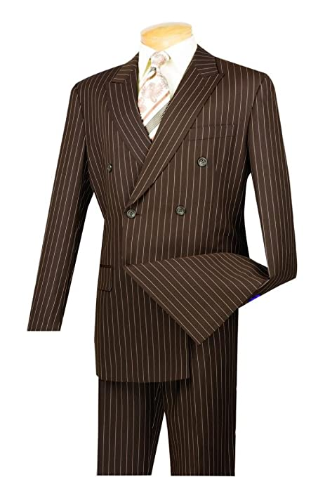 1920s Men's Clothing VINCI Mens Wool Feel 6 Button Double Breasted Gangster Stripe Suit DSS-4 $115.99 AT vintagedancer.com