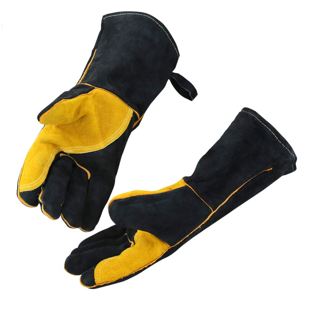 OLSONDEEPAK Welding Gloves with Kevlar Stitching, Genuine Leather Extreme Heat Resistant Glove for Fireplace, Stove,Oven,Grill, BBQ, Mig, Pot Holder, Animal Handling (Large Black(For men)) by OLSON DEEPAK (Image #1)
