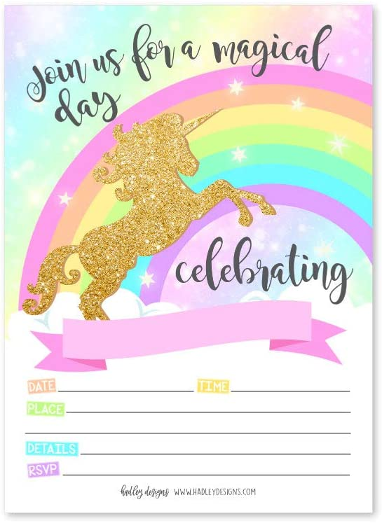 Unicorn Invitations Page Two