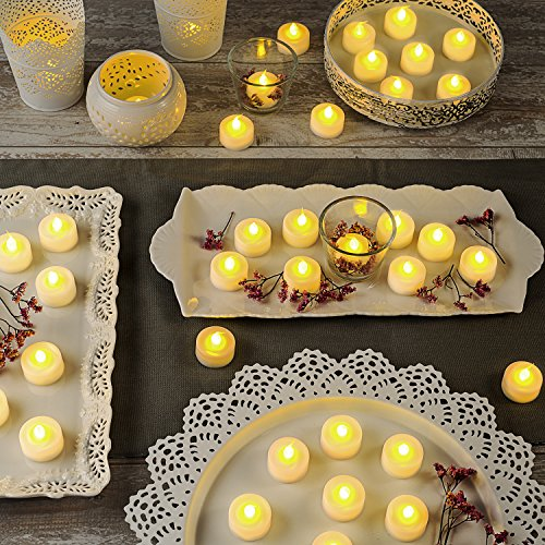 LampLust 100 White Flameless Tea Lights with Realistic Flickering Amber LED, Value Pack, Resin, Indoor/Outdoor Use, Batteries Included by LampLust (Image #2)