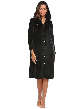 Ekouaer Women s Fleece Robe Hooded Button Down Bathrobe Soft Cotton ... 1d8abeda0