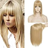 11 Inches Long Straight Clip In Crown Toppers For Women With Wispy Thin Air Bangs Synthetic Top Toupee Hairpiece Middle…