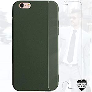 DICHEER iPhone 6 Case, iPhone 6s Case with Glass Screen Protector, Matte TPU Cover Soft Silicone Hunter Green Design for Men,Women,Girls,Shockproof Anti Scratch Phone Case for iPhone 6 6s 4.7 inch