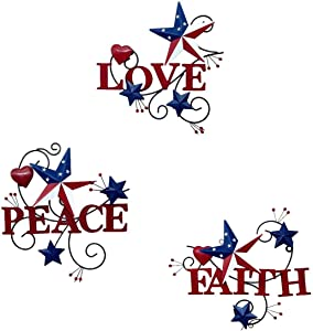 Metal Love Peace Faith Hanging Americana Wall Art Sign, Metal Cutout Letters Love Faith Peace Inspirational Wall Sculpture,Decorative 4th July Vintage Metal Words Patriotic Wall Decoration,Set of 3