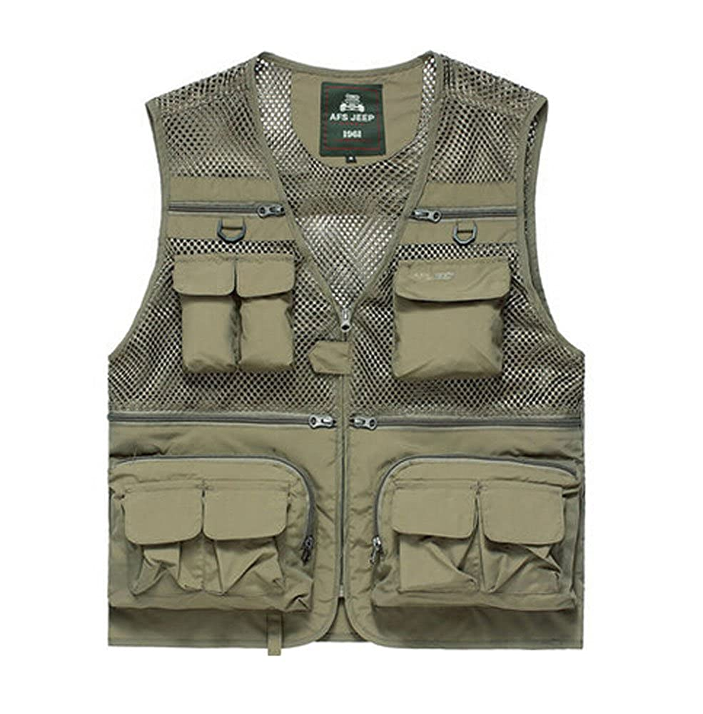 Breathable Multi-pockets Men's Mesh Fishing Vest Waistcoat KHAKI, XL Panda Superstore PS-SPO3258946011-ALAN00103