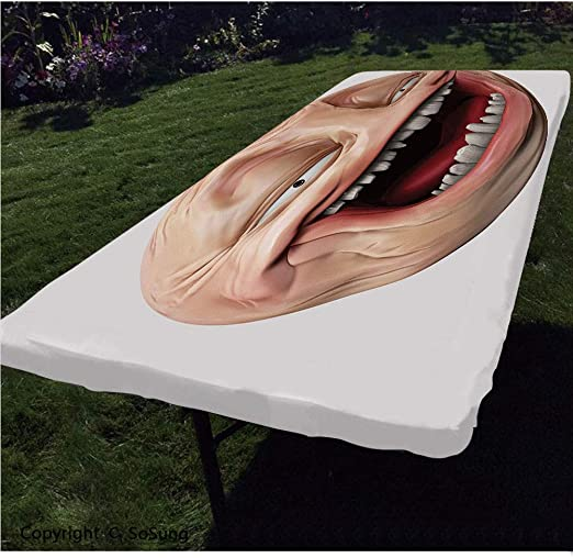 Amazon Com Humor Decor Polyester Fitted Tablecloth Poker Face Guy