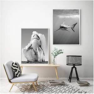 Xykshiyy Great White Shark Black and White Posters and Prints Monochrome Nature Wall Art Canvas Painting for Living Room Home Decor(Frameless) 60x80cmx2
