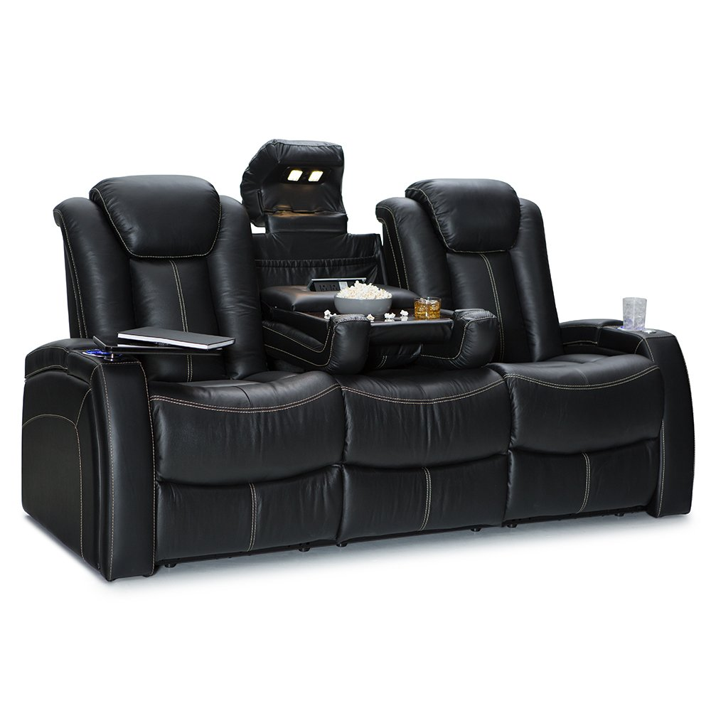 Seatcraft Republic Leather Home Theater Seating Power Recline - (Row of 3 Sofa w/Drop-Down Table, Black) by Seatcraft