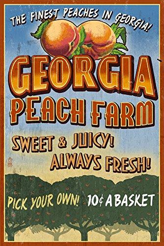 Georgia - Peach Farm Vintage Sign Art Print, Wall Decor Travel Poster