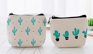 67ede3762 weimay lienzo bolso de mano cartera clave bolsa de monedero funda con cierre  de cremallera para la escuela oficina, color Four Cactus 10*9*3.5cm:  Amazon.es: ...