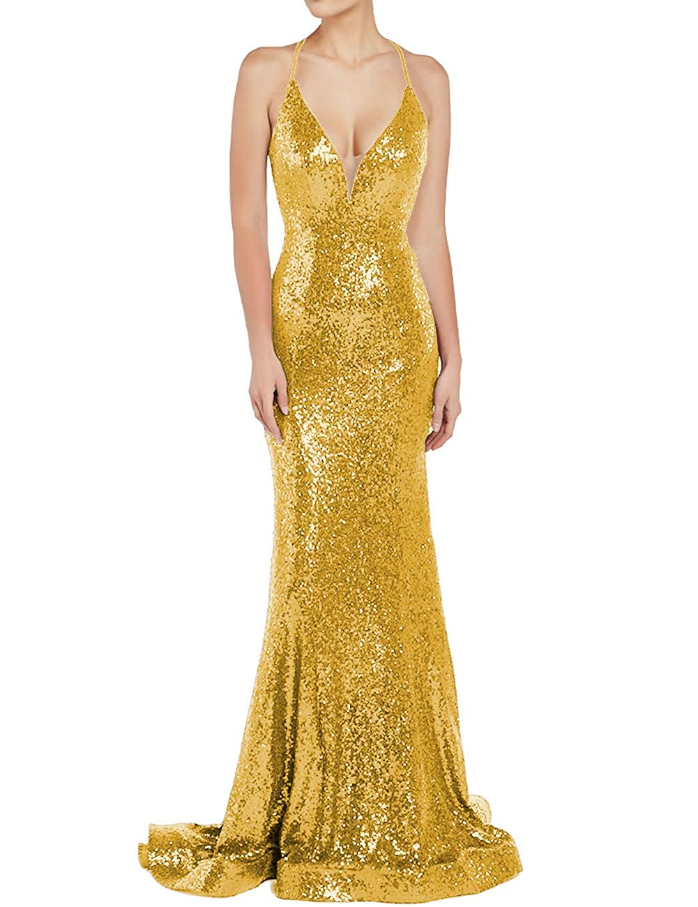 gold Uther Sequin Evening Prom Dresses Long VNeck Spaghetti Straps Wedding Guest Dress
