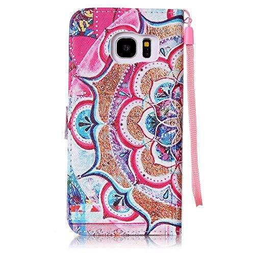 Custodia Samsung Galaxy S7 edge / G935F Cover Case, Ougger Fiore Portafoglio PU Pelle Magnetico Stand Morbido Silicone Flip Bumper Protettivo Gomma Shell Borsa Custodie con Slot per Schede