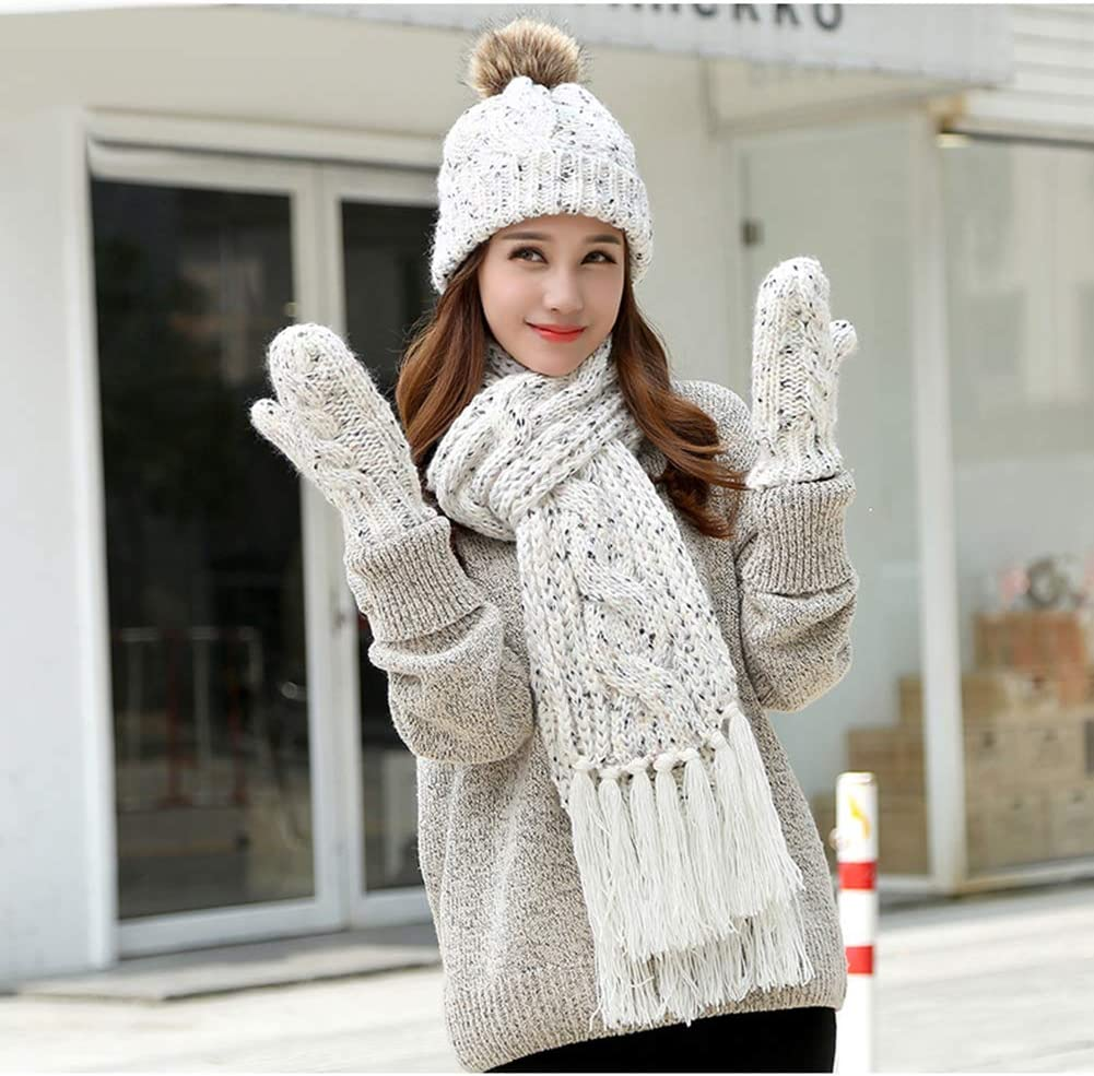 Amorar Fashion Women Knit Beanie Hat Scarf and Glove Set Winter Warm Bobble Hat with Fur Pom Pom Tassel Scarf and Mittens Set
