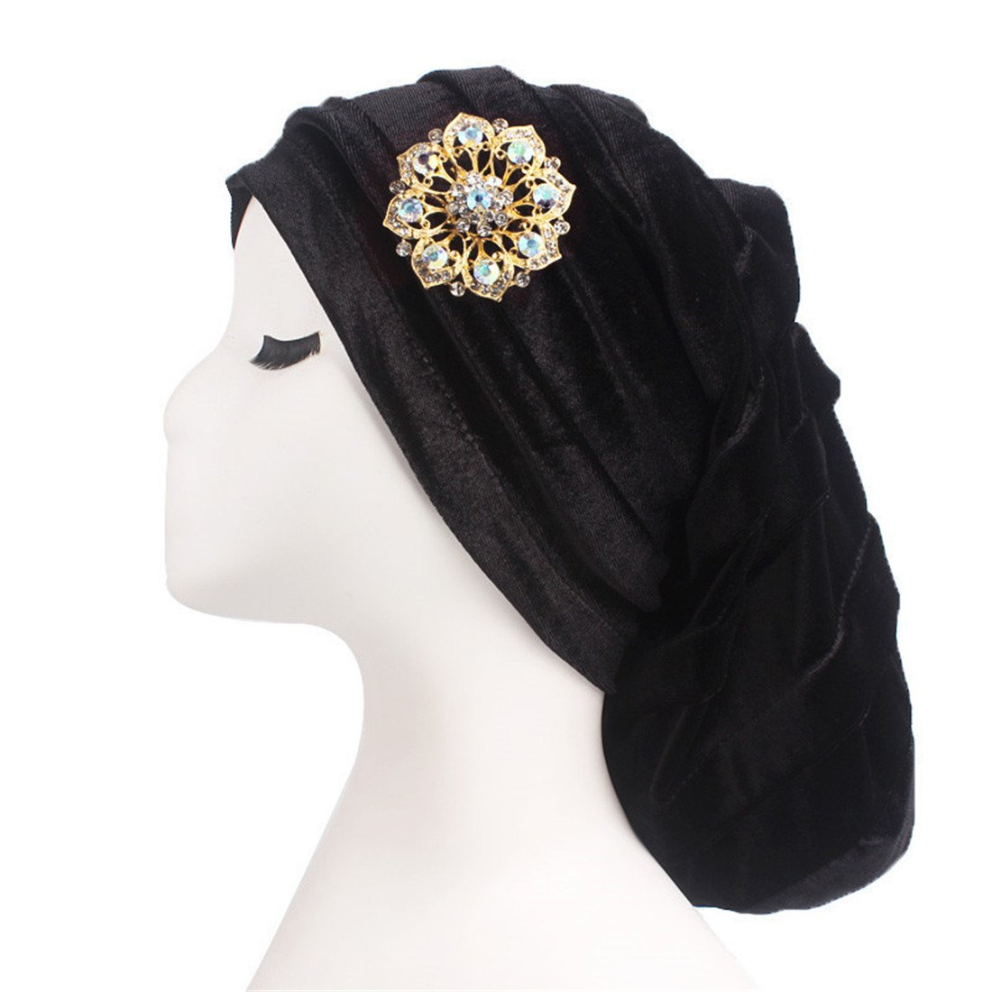 Qhome Women Pleated Velvet Turban with Metal Brooch Long Baggy Chemo Cap Sleeping Hat Hijab Headwrap Slouch Caps