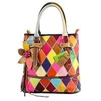 Sac à main femme casual sac à main sac à bandoulière en cuir de vachette collage gradient bandoulière (multicolore)