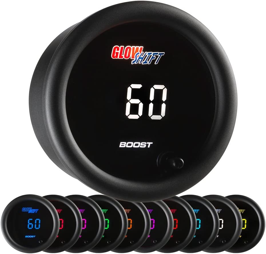 "GlowShift 10 Color Digital 60 PSI Boost Gauge Kit - Includes Electronic Pressure Sensor - Multi-Color LED Display - Tinted Lens - for Diesel Trucks - 2-1/16"" (52mm)"