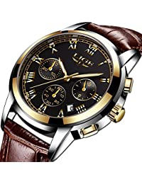 Watch,Watches Mens Luxury Genuine Leather Band Quartz Analog Wrist Watch with Chronograph Waterproof Date Men's Watch Auto Date (Black)