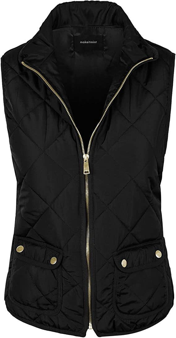 makeitmint Womens Ultra Light Weight Zip Up Quilted Padding Pocket Jacket Vest