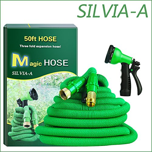 Garden Hose-Expandable Water Hose with Double Latex Core 50ft, 3/4 Solid Brass Connector, Bonus 8 Way Spray Nozzle(Green)+Hook (green-1)