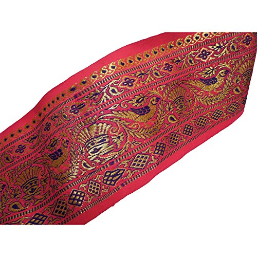 [Indian Brocade Silk Shimmering Gold Pink & Purple Floral Paisley Bird Ethnic Print Costume Fabric Sari/Saree Border Trim Sold by the] (Vintage Paisley Print Costumes)