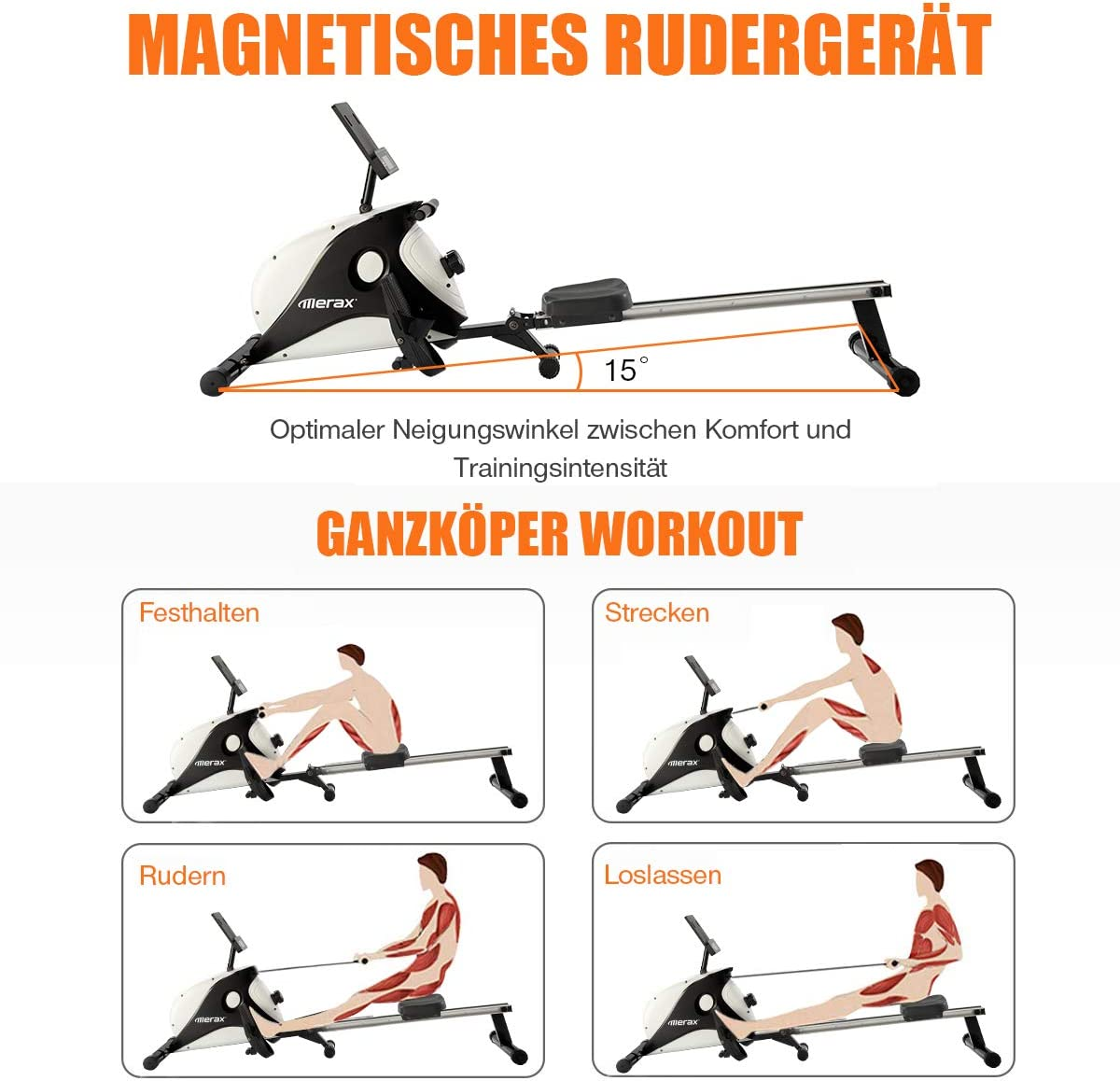 Magnetic Rowing Machines Foldable Indoor 120kg Black 4kg Flyweight and 8 Levels Resistance Adjustment for Home Gym with Magnetic Clamping System DuraB Rowing Machine for Home Use LED Monitor