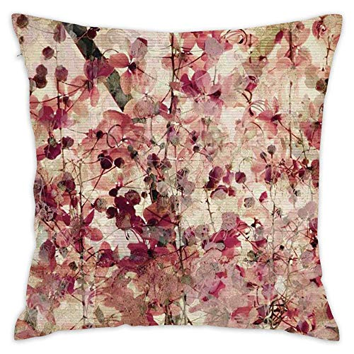 Grungy Effect Cherry Blossoms on Ribbed Throw Pillow Covers for Outdoor Indoor Garden Patio,18x18 inch(45cm), Square Pillow Case Cotton Linen