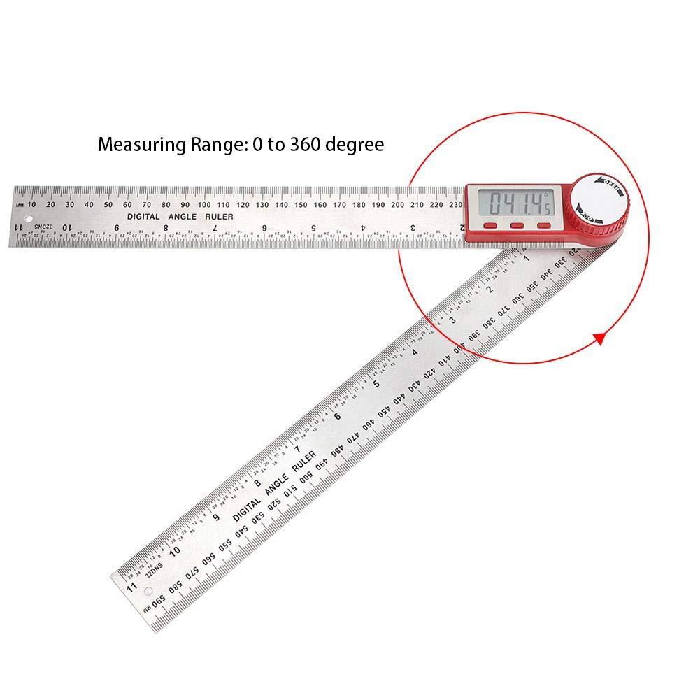300mm para medici/ón de longitud de /ángulo herramienta de medici/ón de carpinter/ía,transportador digital Medidor de /ángulo digital,regla de /ángulo de acero inoxidable 2 en 1,con pantalla LCD grande