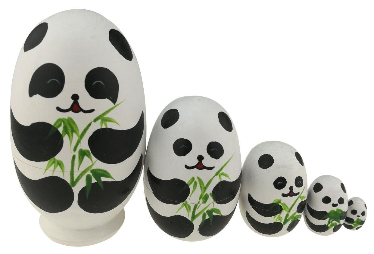 Set of 5 Panda Easter Egg Animal Theme Wooden Stacking Toy Handmade Russian Nesting Dolls Panda Stuff for Kids Toy Panda Party Supplies Easter Gift Winterworm