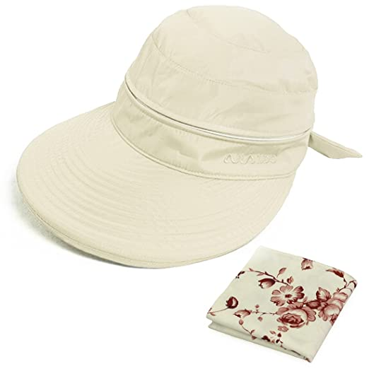 4f4778fae51 kilofly UV Protection Wide Brim Summer Lightweight 2in1 Visor Sun Hat Beige