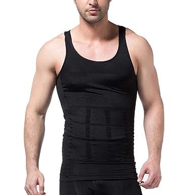 a096e00309 HOEREV Men s Body Shaper Slimming Shirt Elastic Sculpting Vest Tank