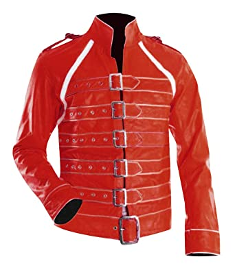 63964ee7e Fashion_First Freddie Mercury Wembley Concert Military Strap Queen Yellow  Leather Biker Jacket