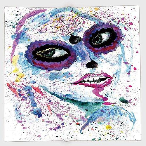 (iPrint Polyester Bandana Headband Scarves Headwrap,Girls,Grunge Halloween Lady with Sugar Skull Make Up Creepy Dead Face Gothic Woman Artsy,Blue Purple,for Women)