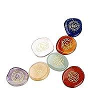 Chakra Reiki Crystal, Charminer 7 piece Engraved Chakra Stones, Palm Stones, Crystal Reiki Healing Stones M