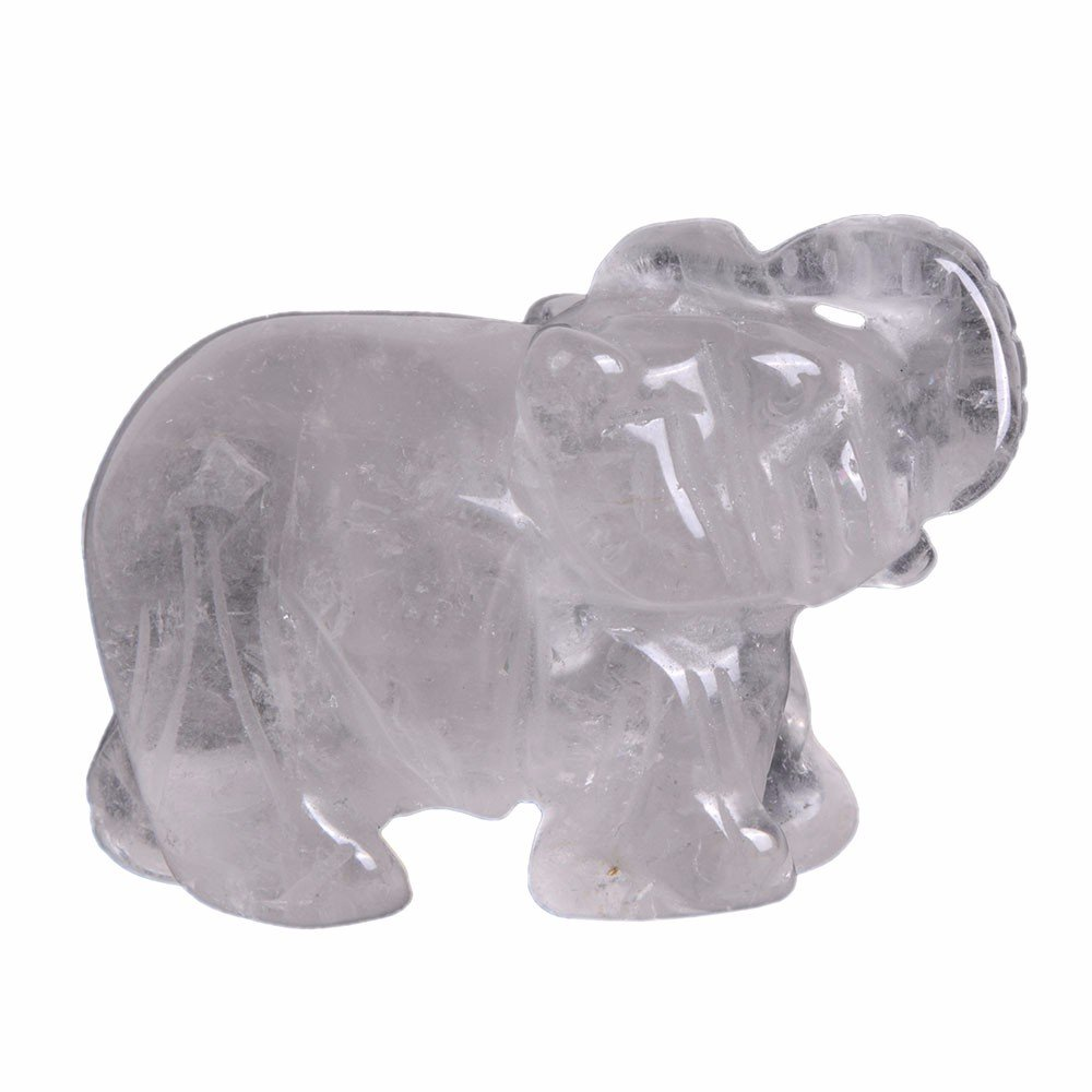 Carved Natural African Bloodstone Gemstone Elephant Healing Guardian Statue Figurine Crafts 2 inch
