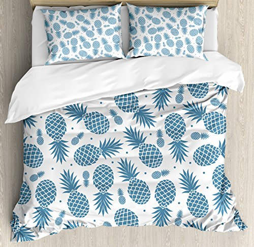 Ambesonne Pineapple Duvet Cover Set, Island Themed Minimalistic Multi-Sized Tropic Fruity Pineapple Printed Vintage, Decorative 3 Piece Bedding Set with 2 Pillow Shams, Queen Size, Blue