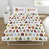 Emoji Bed Sheets Full Size Emoji Christmas 2 Piece UK Double /US Full Sheet Set, 1 x Double Sided Sheet and 2 x Pillowcases