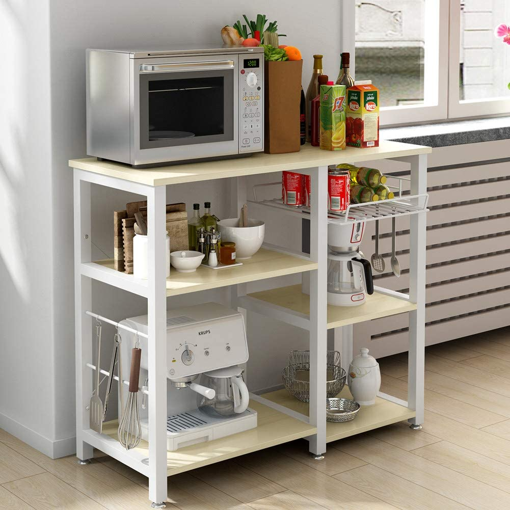 DlandHome Estantería Cocina Multiuso para Horno Microondas con Organizador de Especias & Caja de almacenamiento de frutas & Ganchos para Utensilios de cocina, Arce