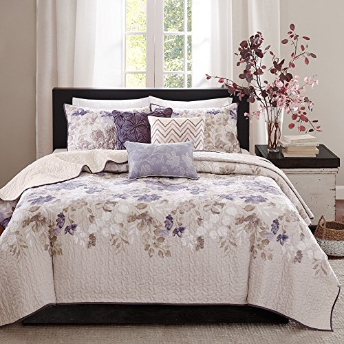 - 6 Piece Beautiful Purple Blue Beige White Ivory King/ Cal King Coverlet Set, Floral Themed Bedding Modern Stylish Chic Pretty Elegant Trendy Watercolor Flower Plush Zig Zag, Polyester