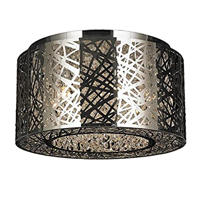 "Worldwide Lighting Aramis Collection 6 Light Halogen Chrome Finish Drum Shade with Clear Crystal Flush Mount Ceiling Light 16"" D x 8"" H Medium"