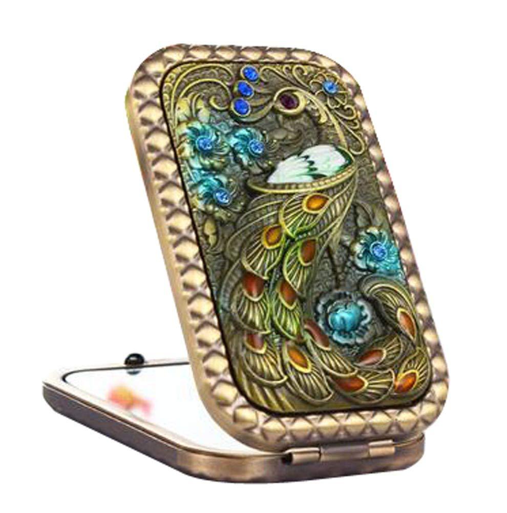 Vintage Compact Mirrors Travel Makeup Mirror Handbag Mirror, Peacock Blancho Bedding